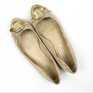 Diane Von Furstenberg Shoes - Diane von Furstenberg Gold Metallic Buckle Flats
